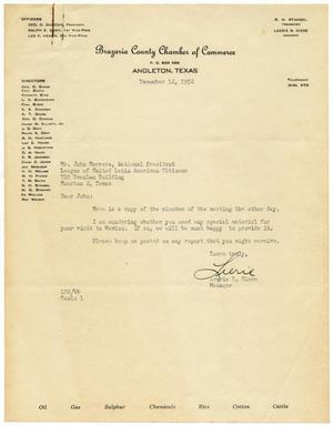 Primary view of object titled '[Letter from Leerie R. Giese to John Herrera - 1952-12-12]'.
