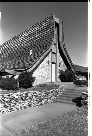 Primary view of object titled '[St. Mark's Lutheran Church -- 11 of 18:   Retaining Wall Leading to Church]'.