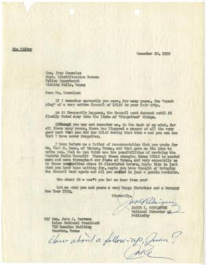 [Letter from Jacob I. Rodriguez to Ivey Gonzalez - 1952-12-20]