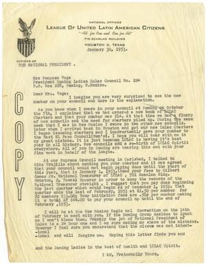 [Letter from John J. Herrera to Mrs. Pomposo Vega - 1953-01-30]