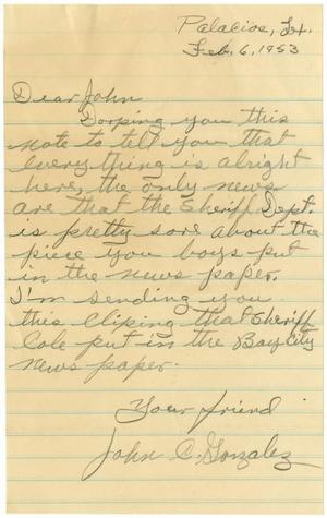 [Letter from John C. Gonzalez to John J. Herrera - 1953-02-06]