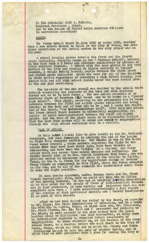 Primary view of object titled '[Report from Albert Armendariz to John J. Herrera and LULAC members regarding Pecos School Board hearing - 1953]'.