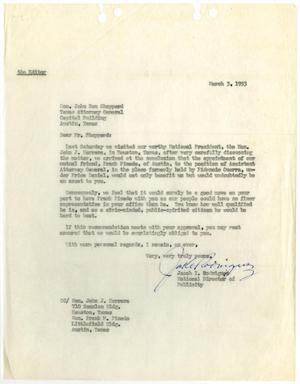 [Letter from Jacob I. Rodriguez to John Ben Shepperd - 1953-03-03]