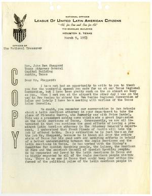 [Letter from John J. Herrera to John Ben Shepperd - 1953-03-09]