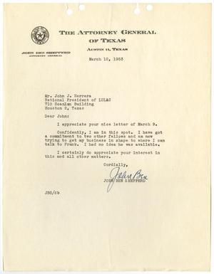 [Letter from John Ben Shepperd to John J. Herrera - 1953-03-12]