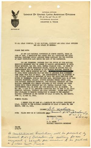 Primary view of object titled '[Letter A. D. Azios to LULAC Councils - 1953-04-24]'.