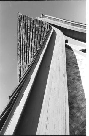 Primary view of object titled '[St. Mark's Lutheran Church -- 13 of 18:  Curved Wood of Steeple]'.
