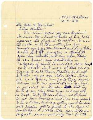 Primary view of object titled '[Letter from Andrew Espinosa, Jr. to John J. Herrera - 1953-10-09]'.