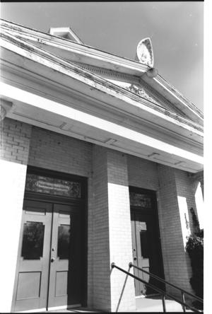 Primary view of object titled '[First Presbyterian Church -- 8 of 13:   Gable Over the Entrance]'.