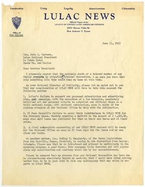 Primary view of object titled '[Letter from Jacob I. Rodriguez to John J. Herrera - 1953-06-11]'.