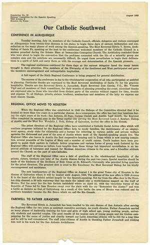 Primary view of object titled '[Bishops' Committee for the Spanish Speaking Newsletter, Number 25, August 1953]'.