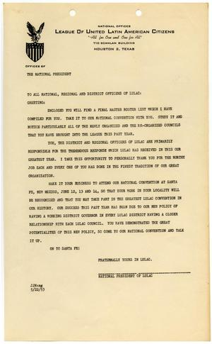 Primary view of object titled '[Letter from John J. Herrera to LULAC Officers - 1953-05-22]'.
