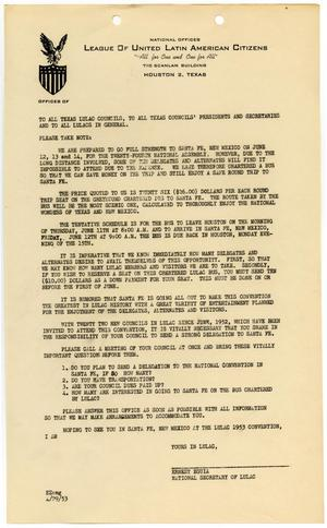 Primary view of object titled '[Letter from Ernest Eguia to LULAC members - 1953-04-29]'.