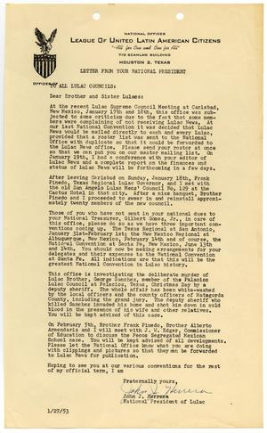 Primary view of object titled '[Letter from John J. Herrera to all LULAC Councils - 1953-01-27]'.