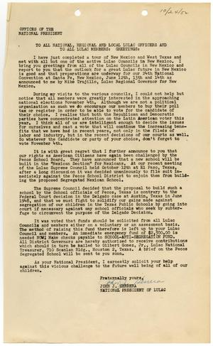 Primary view of object titled '[Letter from John J. Herrera to LULAC members - 1952-10-24]'.