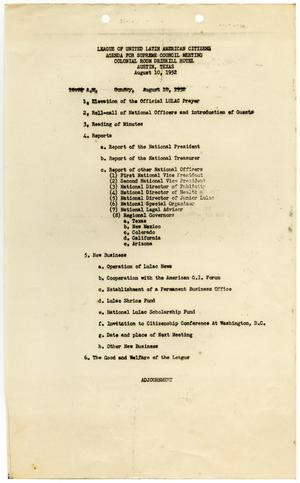Primary view of object titled '[Agenda of the LULAC Supreme Council Meeting, August 10, 1952]'.