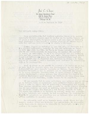 Primary view of [Letter from José E. Chapa to John J. Herrera - 1954-02-06]