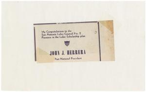 Primary view of object titled '[Clip from an unidentified publication about John J. Herrera]'.