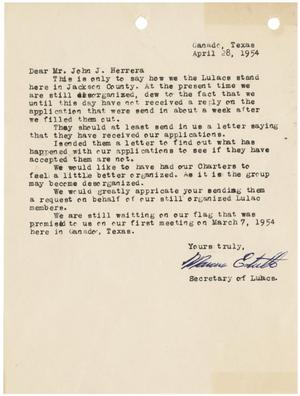 [Letter from the Secretary of League of United Latin American Citizens of Jackson County to John J. Herrera - 1954-04-28]