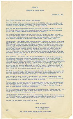 Primary view of object titled '[Letter from Emily Rimmer Vasquez, LULAC Junior Director to Junior national and local officers and members - 1954-10-29]'.