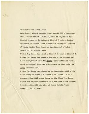 Primary view of [Statement endorsing Tony Campos as Candidate for Regional Governor of LULAC for Texas, February, 1956]