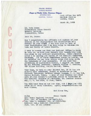 Primary view of object titled '[Letter from Frank M. Pinedo to Rudy Garza - 1955-03-28]'.