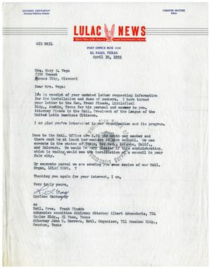 Primary view of object titled '[Letter from Luciano Santoscoy to Mary E. Vega - 1955-04-30]'.