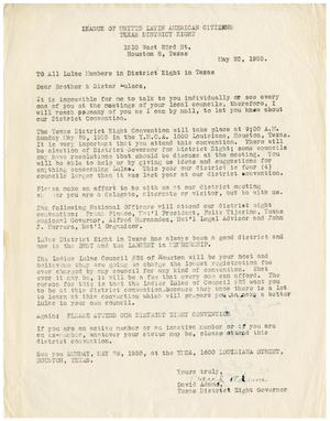 Primary view of object titled '[Letter from David Adame to all LULAC District Eight members - 1955-05-22]'.