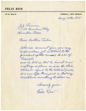Primary view of object titled '[Letter from Felix Rios to John J. Herrera - 1955-05-18]'.