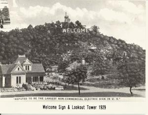 Primary view of object titled 'Welcome Sign And Lookout Tower:   1929'.