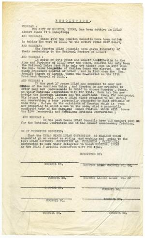 Primary view of object titled '[Houston and Texas LULAC councils resolution - 1964]'.