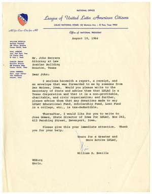 Primary view of object titled '[Letter from William D. Bonilla to John J. Herrera - 1964-08-19]'.