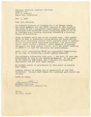 Primary view of object titled '[Letter from Benjamin Palacios to John J. Herrera - 1965-02-01]'.
