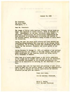 Primary view of object titled '[Letter from Belen Robles to Lyndon B. Johnson - 1965-01-12]'.