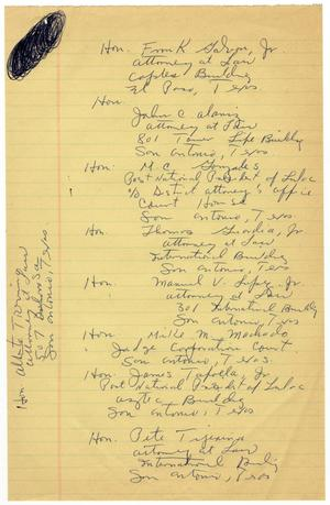 Primary view of object titled '[Address list of LULAC past National Presidents, 1966]'.
