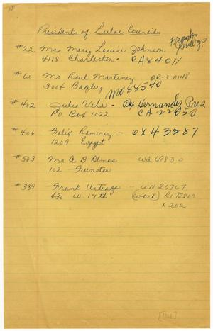 Primary view of object titled '[Address list of LULAC Presidents of Houston Councils, 1966]'.