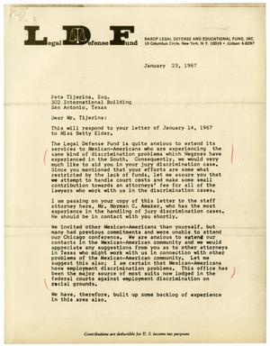 Primary view of object titled '[Letter from Jack Greenberg to Pete Tijerina - 1967-01-23]'.
