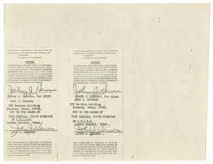 Primary view of object titled '[Payee endorsement signature of John J. Herrera on two money orders]'.