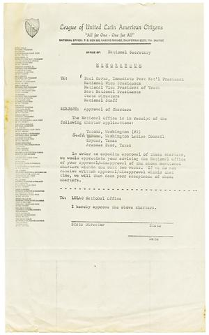 Primary view of object titled '[Memorandum from the National Secretary of LULAC to the Supreme Council - 1972]'.
