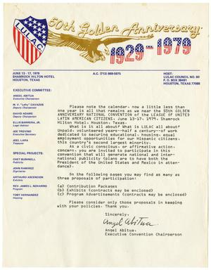 [Letter from Angel Abitua, Executive Convention Chairperson, 50th Golden Anniversary of LULAC]