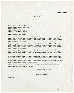 Primary view of object titled '[Letter from John J. Herrera to Armando C. de Baca - 1976-07-26]'.