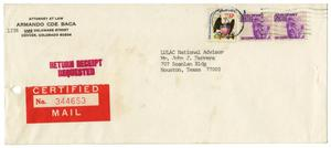 Primary view of object titled '[Envelope from Armando C. de Baca to John J. Herrera - 1976]'.