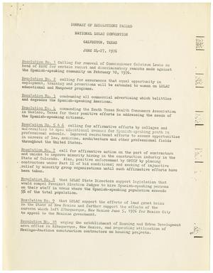 Summary of Resolutions Passed, National LULAC Convention, June 24-27, 1976