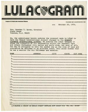 Primary view of object titled '[LULAC Gram to Brendan T. Byrne - 1976-10-20]'.