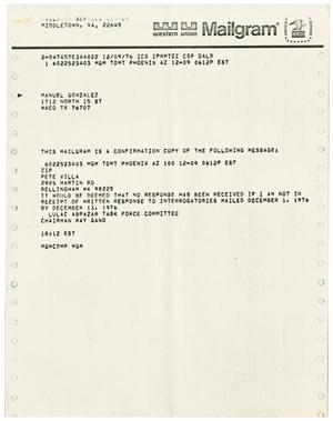 Primary view of object titled '[Mailgram from Ray A. Gano to Manuel Gonzales - 1976-12-09]'.