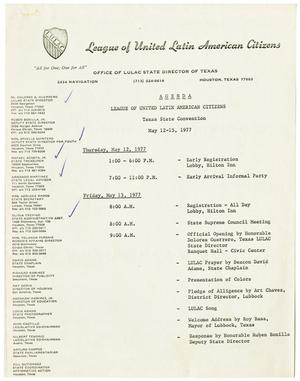 Primary view of object titled '[Agenda of the LULAC Texas State Convention, May 12-15, 1977]'.