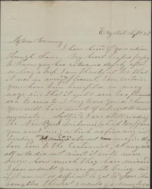Primary view of object titled 'Letter to Cromwell Anson Jones, 26 September [1876]'.