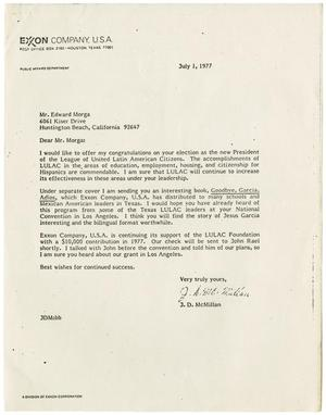 Primary view of object titled '[Letter from J. D. McMillan to Eduardo Morga - 1977-07-01]'.