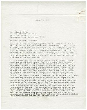 Primary view of object titled '[Letter from John J. Herrera to Eduardo Morga - 1977-08-05]'.