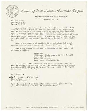 Primary view of object titled '[Letter from Eduardo Morga to Jose Flores - 1977-09-02]'.